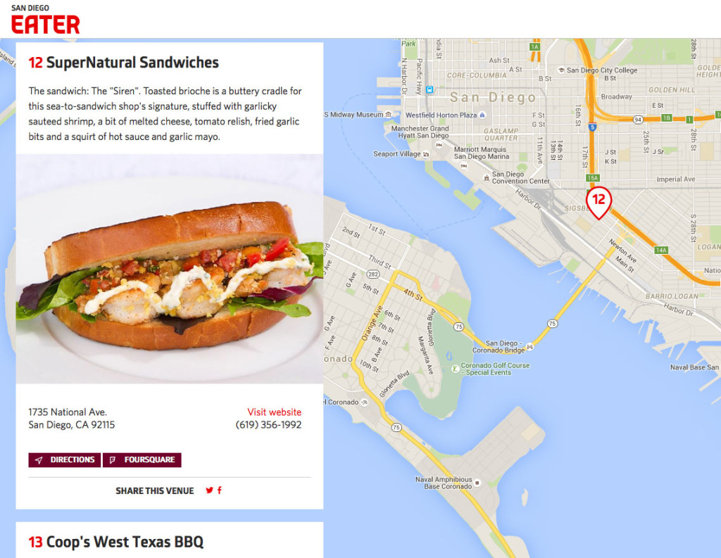 San Diego's Essential Sandwiches, Mapped