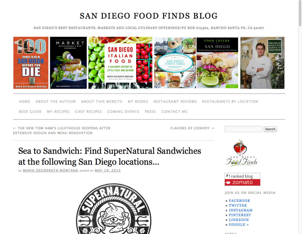 Sea to Sandwich: Find SuperNatural Sandwiches at the following San Diego locations…
