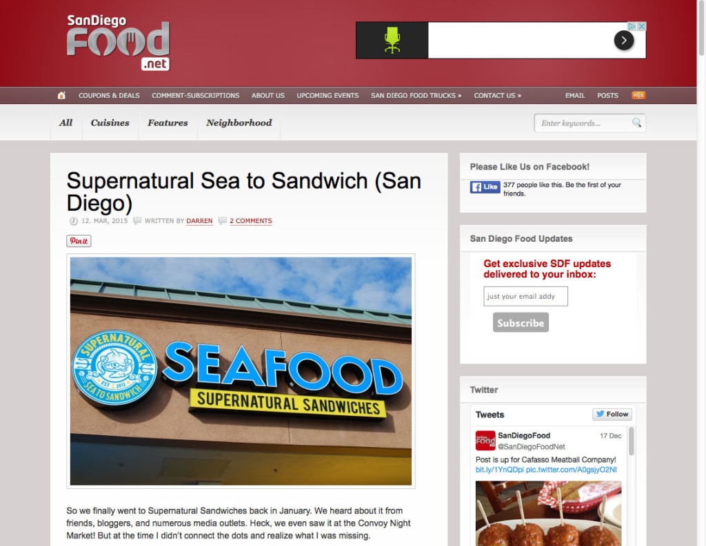 Supernatural Sea to Sandwich (San Diego)