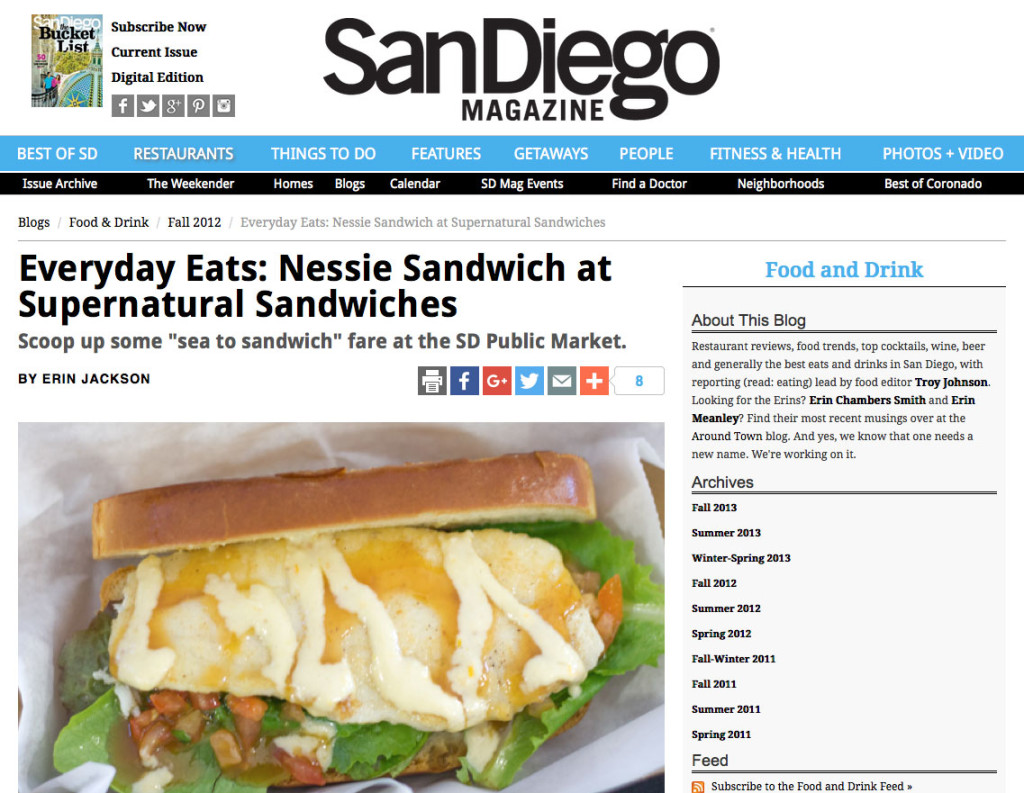 Everyday Eats: Nessie Sandwich at Supernatural Sandwiches