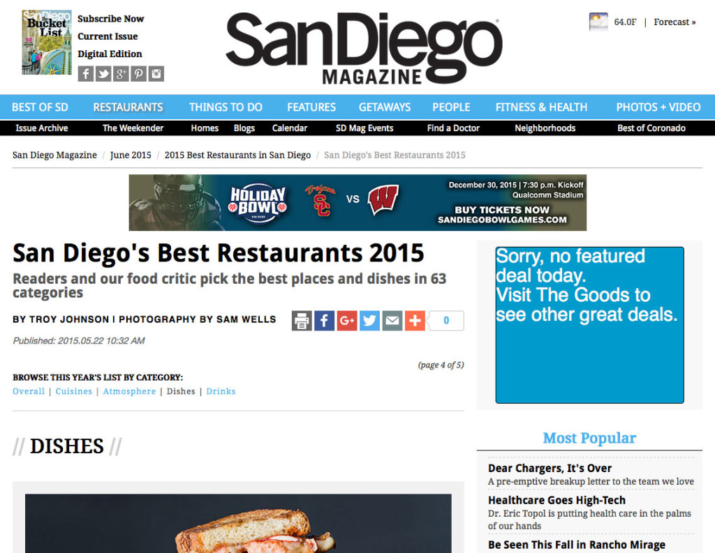 San Diego's Best Restaurants 2015
